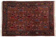 A KURDI RUG, WEST PERSIA, MODERN the rose field with an overall design of m