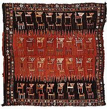 A CAUCASIAN FLATWEAVE, CIRCA 1920 the field in red and black, horizontally