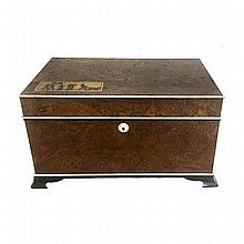A BURL WALNUT AND IVORY INLAID DUNHILL HUMIDOR NOT SUITABLE FOR EXPORT