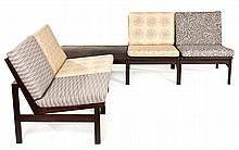 A MODULAR TEAK CORNER SET, 20TH CENTURY comprising: four side chairs and a