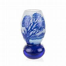 A CAMEO GLASS VASE, RICHARD LOETZ, 20TH CENTURY the tapering ovoid body on