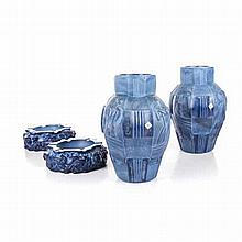 A PAIR OF DESNA CZECH OPAQUE BLUE GLASS VASES of hexagonal form moulded wit