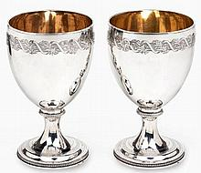 A PAIR OF SCOTTISH SILVER WINE GOBLETS, ROBERT GRAY & SON, EDINBURGH, 1805