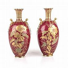 A PAIR OF ROYAL CROWN DERBY 'MAPLE AND CO' VASES, EARLY 20TH CENTURY of ova