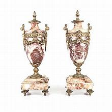 A PAIR OF ITALIAN MARBLE AND GILT-METAL PEDESTAL URNS AND COVERS, 20TH CENT
