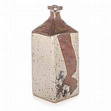 ANDREW WALFORD (1942-): A STONEWARE SLAB BUILT VASE square with stylised br