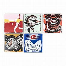 FIVE TILES DECORATED BY SOUTH AFRICAN ARTISTS, CIRCA 1970 comprising: C. Sk