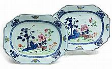 A PAIR OF CHINESE FAMILLE ROSE PLATTERS, QIANLONG, 1736–1795 each rectangul