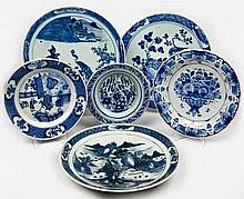 A MISCELLANEOUS COLLECTION OF SIX ASIAN AND CONTINENTAL BLUE AND WHITE CHAR