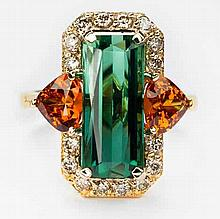 A GREEN TOURMALINE, DIAMOND AND MANDARIN GARNET RING centered with a rectan