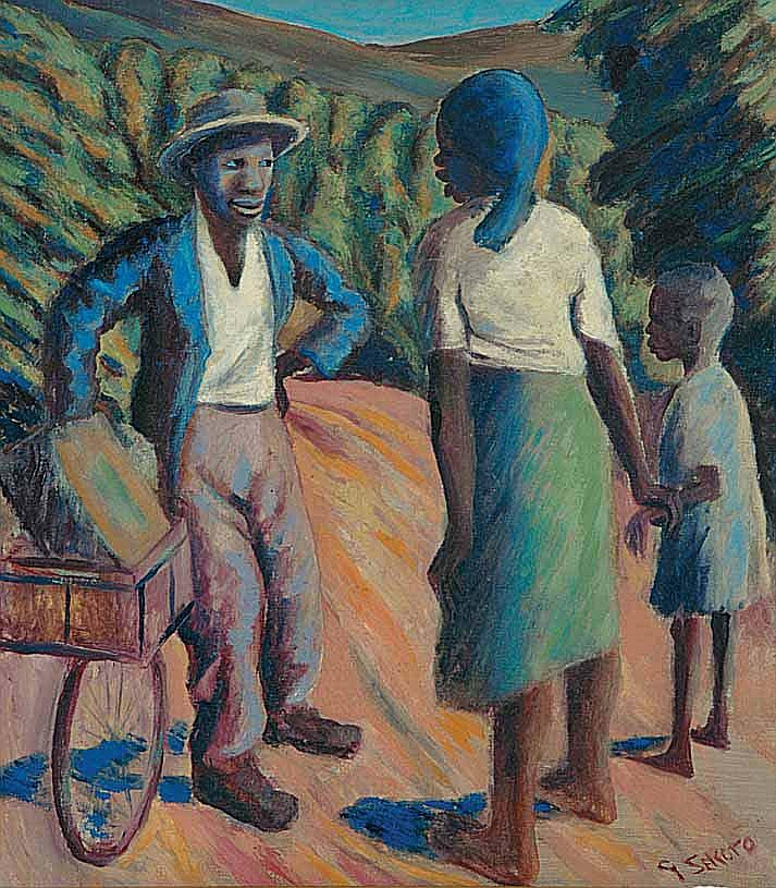 Gerard Sekoto (South African 1913-1993) TALKING