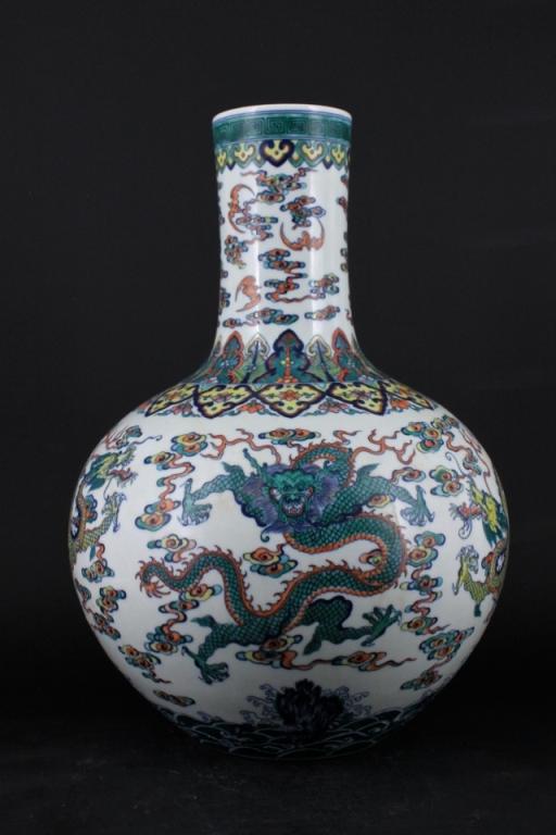 Chinese Qing Porcelain DouCai Dragon Vase