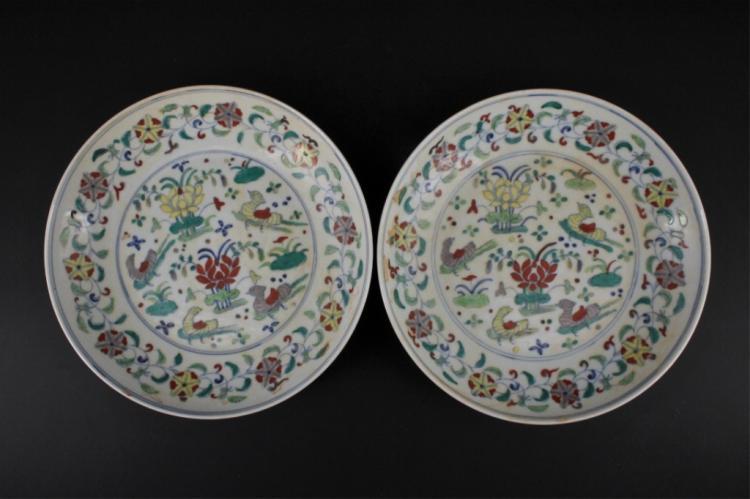 Pair of Ming Porcelain DouCai Plate