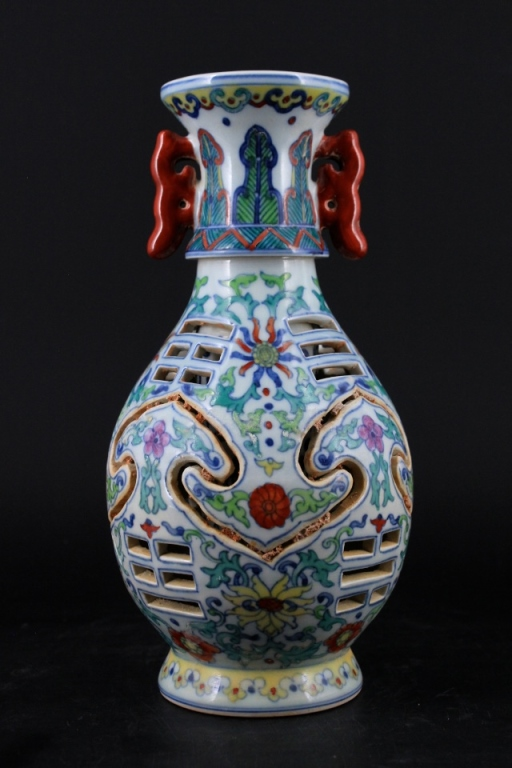 Chinese Ming Porcelain DouCai Hollow Vase