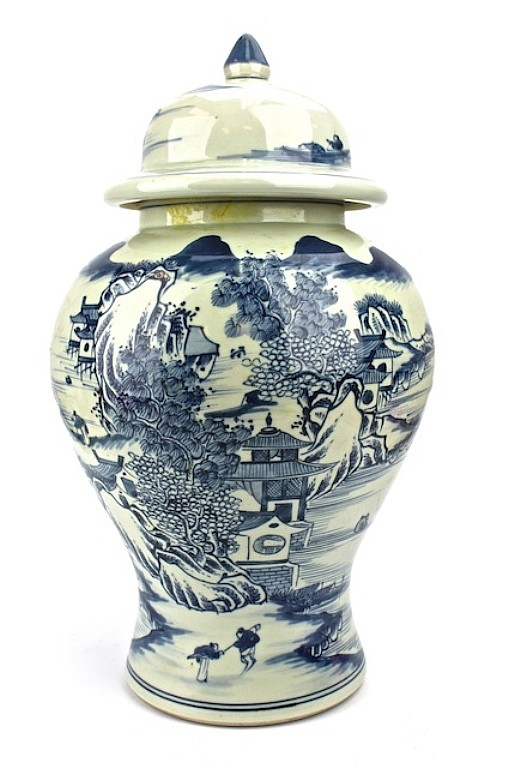 Large Chinese Blue & White Vase With Lid