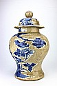 Large Chinese Blue & White Ceramic Jar with Lid