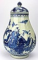 Chinese Qing Blue & White Vase with Lid