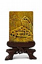 Chinese Yellow Stone Carved Plaque