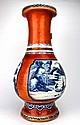 Chinese Blue & White on Orange base Vase