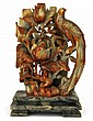 Chinese Stone carved phoenix & flower plaque