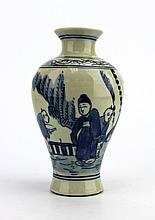 Chinese Qing Blue & White Porcelain Vase