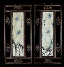 Pair of Framed Chinese Porcelain Plaque