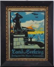 """Siegmund von Suchodolski (1875-1935): """"Land und Seekrieg"""", WW1, war poster"""