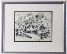 János Bizse (1920-1981, Pécs) - ink drawing village and fields