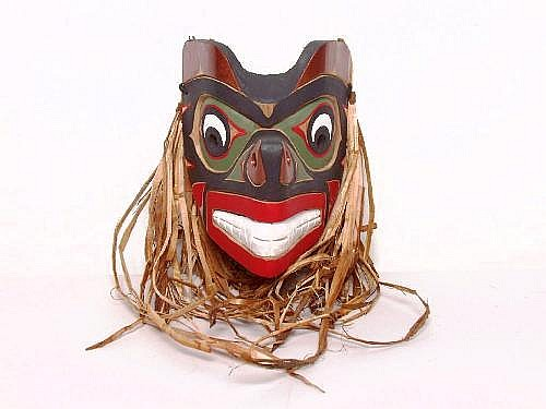 Native Art: Wolf Cub Mask By Tony Gulbrandsen. Red