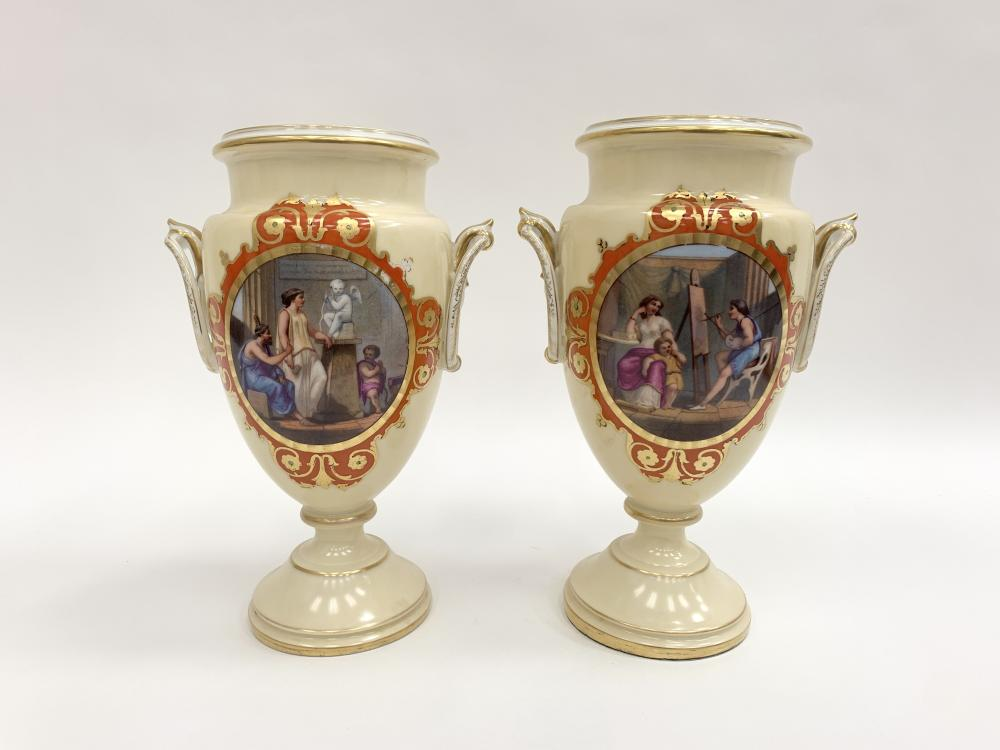 PAIR OF ROYAL VIENNA STYLE CLASSICAL SCENIC URNS