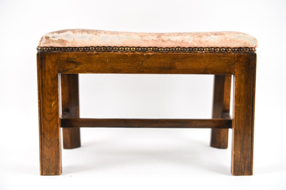 REGENCY LEATHER COVERED OTTOMAN / FOOTSTOOL