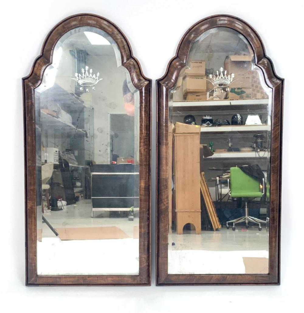 PAIR OF ANTIQUE QUEEN ANNE-STYLE MIRRORS