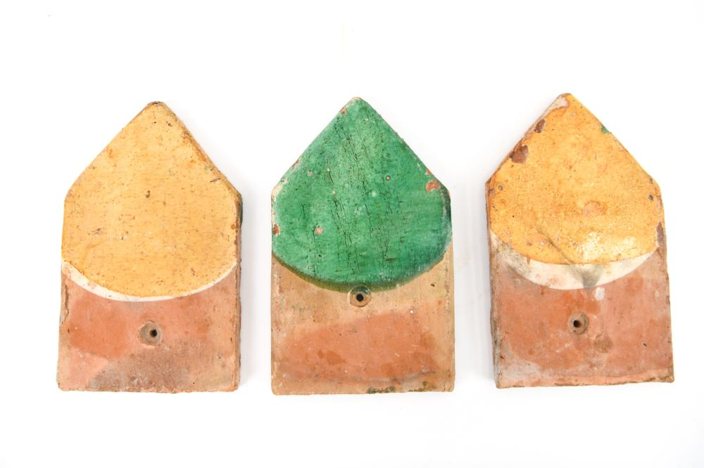 (3) 18TH CENTURY FRENCH EARTHENWARE ROOF TILES