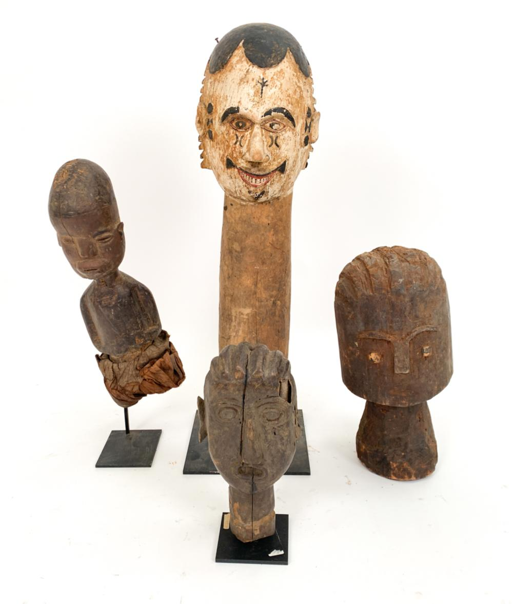 (4) AFRICAN/INDONESIAN CARVED SCULPTURES