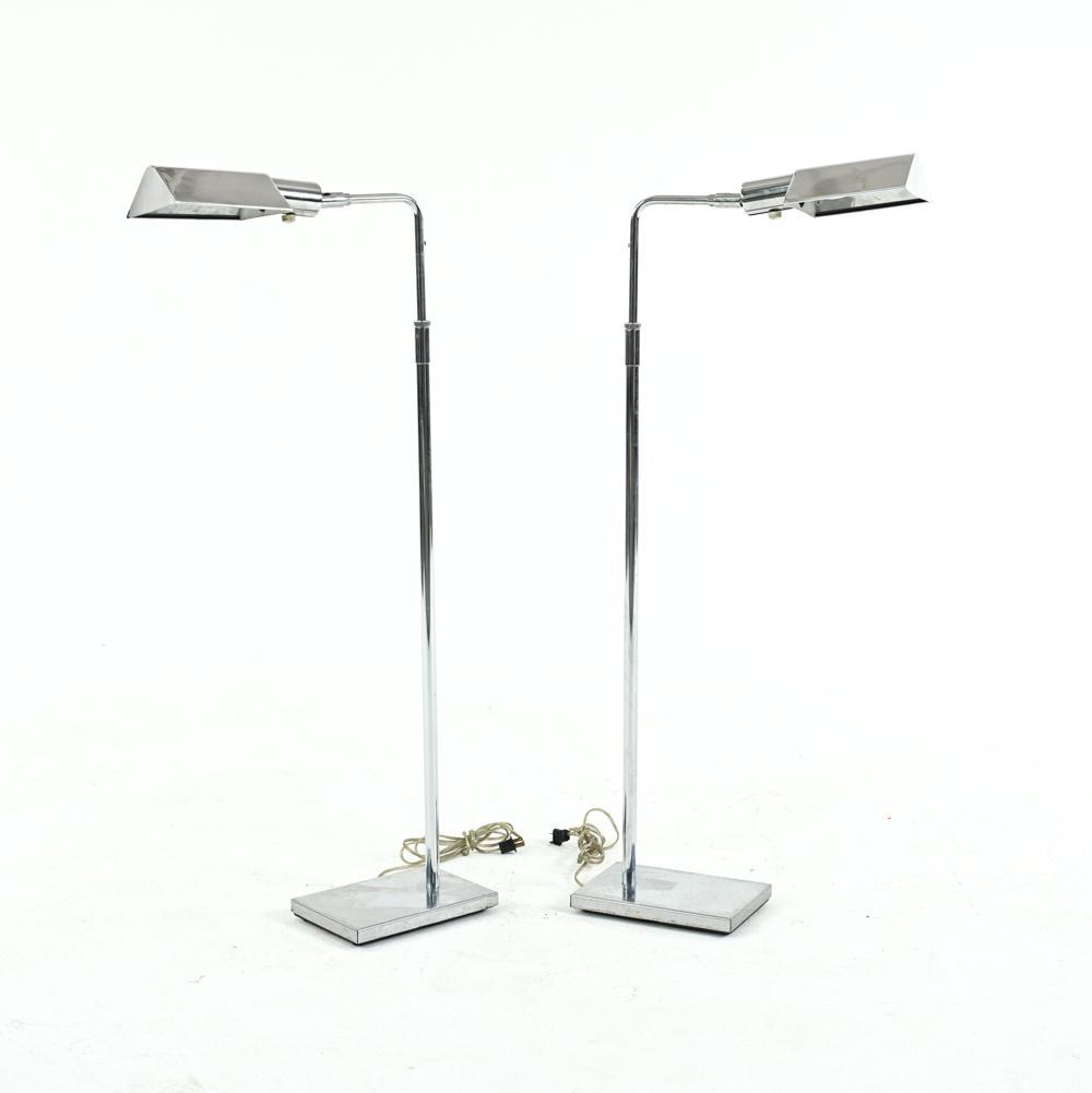 PAIR OF KOCH & LOWY CHROME FLOOR LAMPS