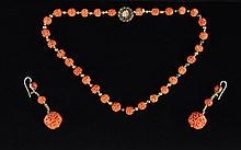19TH C. CHINESE CARVED CORAL NECKLACE & EARRINGS