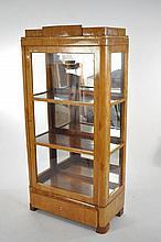 19TH C. BIEDERMEIER BURLWOOD GLASS DISPLAY CABINET