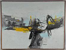DAMON (MID 20TH CENTURY) ABSTRACT OIL PAINTING