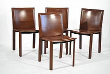 4 FILIPO SIBAU ITALIAN TOP STITCHED LEATHER CHAIRS