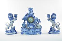 19TH C. FRENCH FAIENCE LION CLOCK ST CLEMENT GALLE