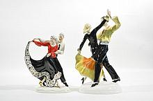 TWO UNMARKED PORCELAIN DANCING FIGURES