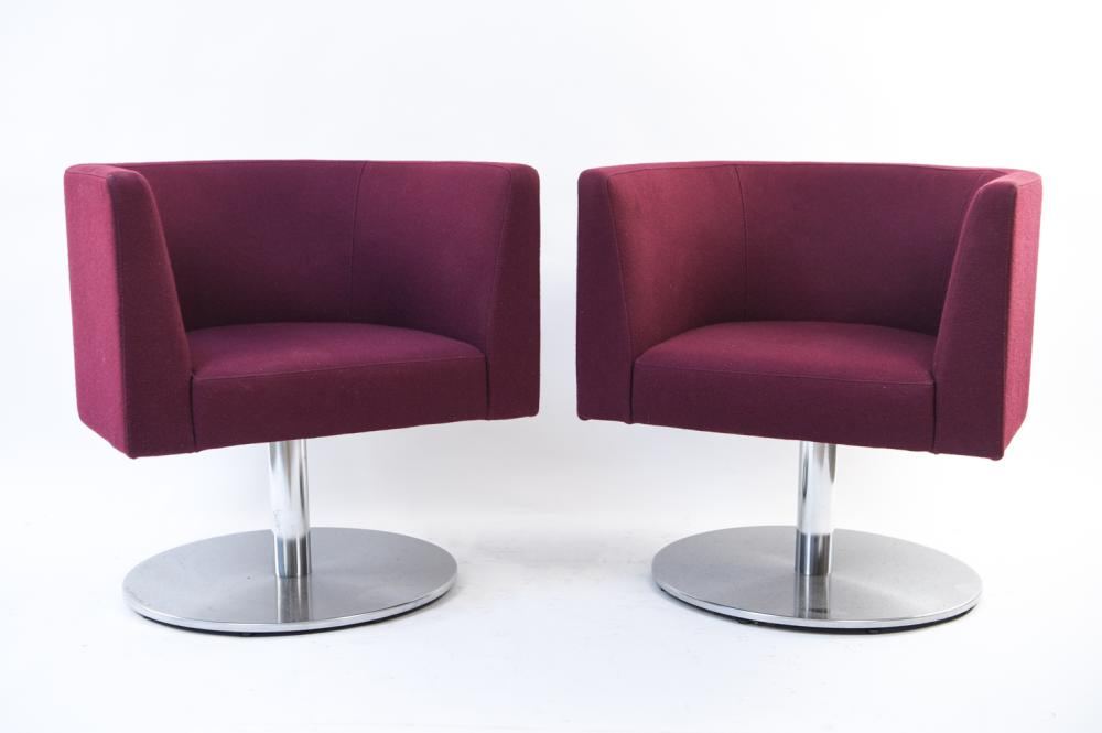 VIGNETTE BY TEKNION PAIR OF PURPLE LOUNGE CHAIRS
