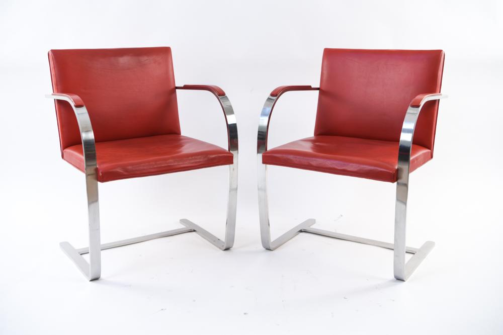PAIR OF KNOLL BRNO CHAIRS IN CHROME & RED LEATHER