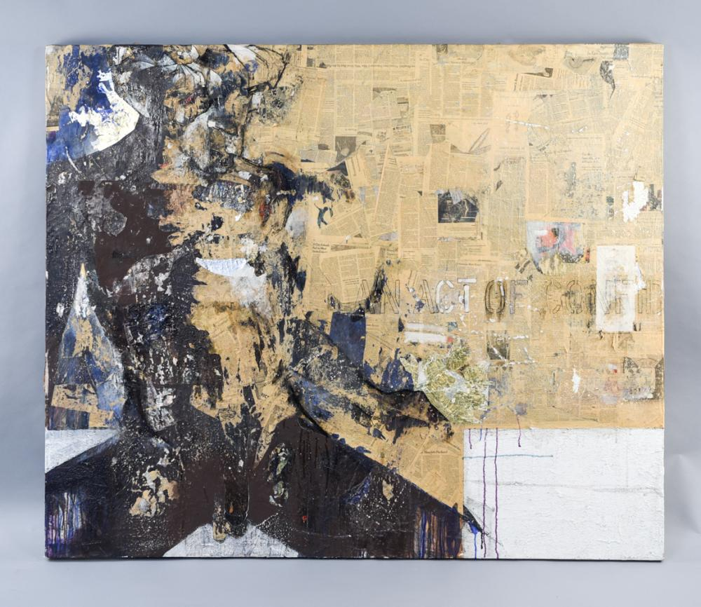 LARGE ABSTRACT MIXED MEDIA COLLAGE