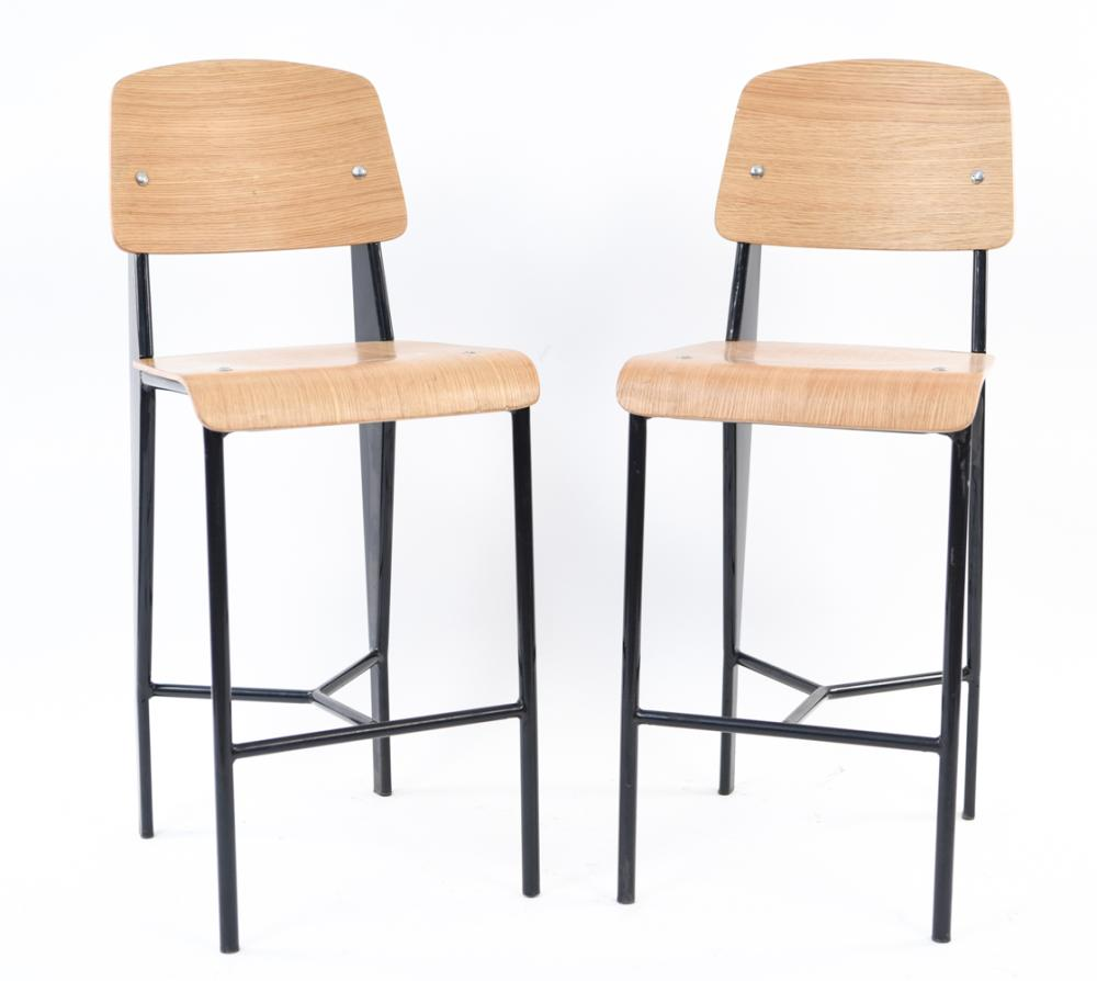 PAIR OF JEAN PROUVE HIGH STOOLS