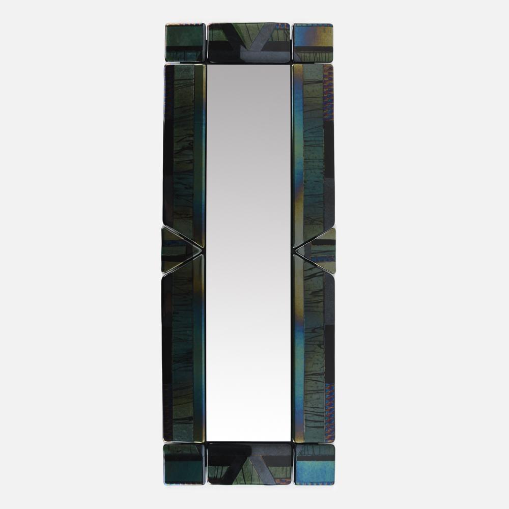 IRIDESCENT ART GLASS TILE MIRROR