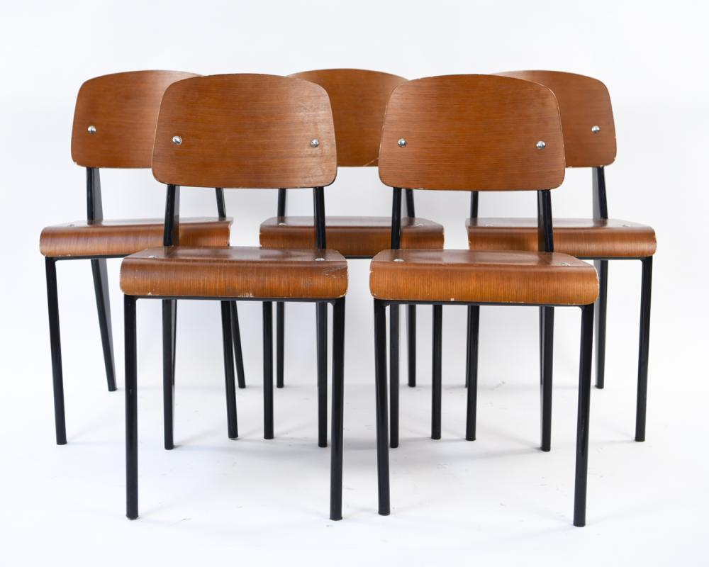 (5) STYLE OF JEAN PROUVE SIDE CHAIRS