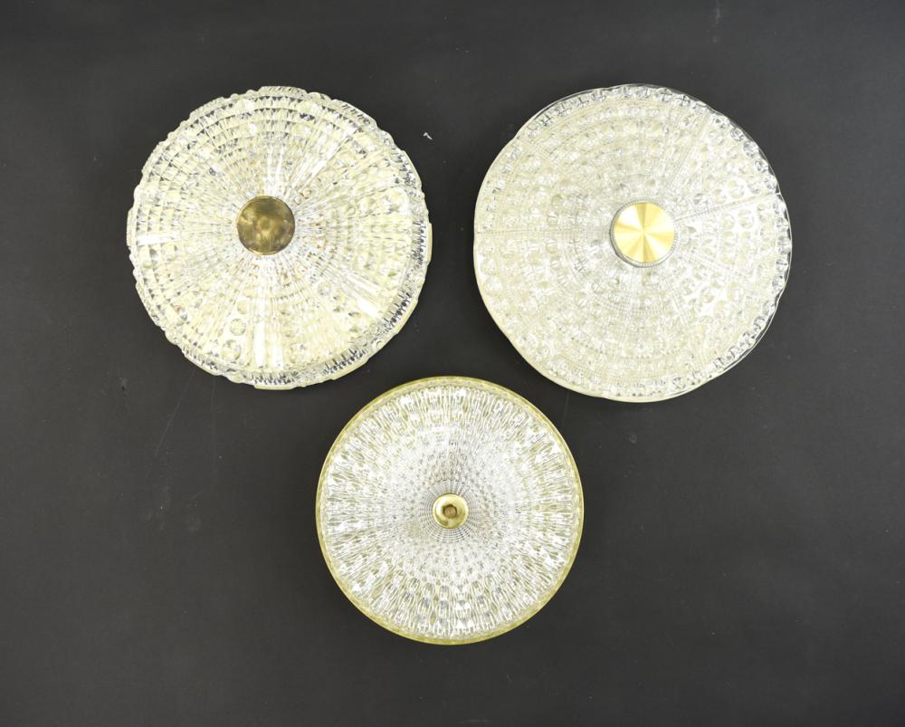 (3) CARL FAGERLUND FOR ORREFORS FLUSH MOUNT LAMPS