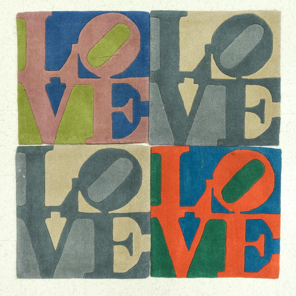 (4) ROBERT INDIANA LOVE RUGS
