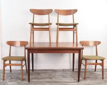 DANISH TEAK DINING TABLE & (4) FARSTRUP CHAIRS